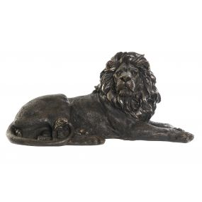 FIGURE RESIN 82X35X38 LION AGED COPPER-COLORED