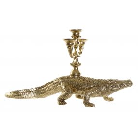 FIGURE RESIN 69X20X35 CANDELABRO CROCODILE SPARKLY