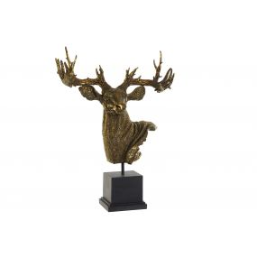 FIGURE RESIN 38X20X52 REINDEER AGED GOLDEN