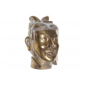 FIGURE RESIN 22X22X31 WARRIOR HEAD AGED GOLDEN