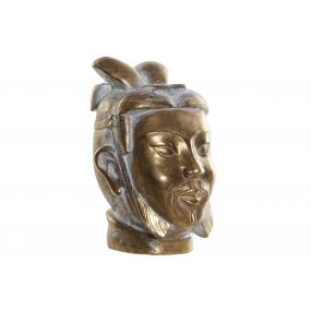 FIGURE RESIN 11,5X12X18 WARRIOR HEAD AGED GOLDEN