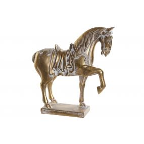 FIGURE RESIN 29X11X31 HORSE AGED GOLDEN