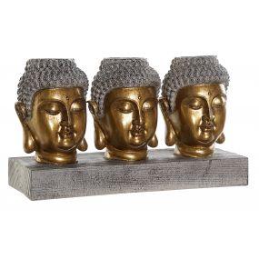 FIGURE RESIN 26X9,5X15 BUDDHAS AGED GOLDEN