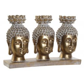 FIGURE RESIN 27X9X18 CANDLE HOLDER BUDDHA AGED