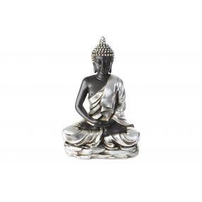 FIGURE RESIN 50X26X74 BUDDHA SILVER