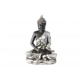 FIGURE RESIN 50X26X74 BUDDHA SILVER