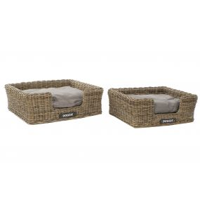 PET BED SET 2 RATTAN POLYESTER 77X65,5X26 GREY