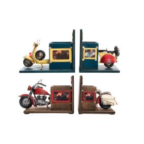BOOKEND SET 2 WOOD 38X13X17 MOTORCYCLE 2 MOD.