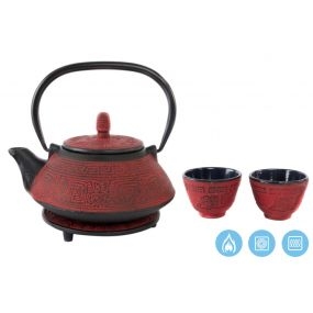 TEAPOT SET 4 CAST IRON 18X16X12 800 ML. INFUSIONER