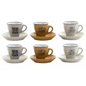 COFFEE SET SET 6 STONEWARE 140 CC. MULTICOLORED