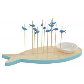 APPERTIF SET SET 11 WOOD PORCELAIN 12X30 FISH