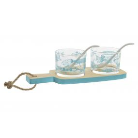 TABLA APERITIVO SET 5 MDF CRISTAL 10X10X22 PECES