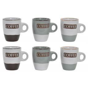 COFFEE SET 6 STONEWARE 8X6X7 90ML. COFFEE