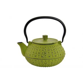 TEAPOT CAST IRON 18X16X19 900 ML. ORIENTAL GREEN
