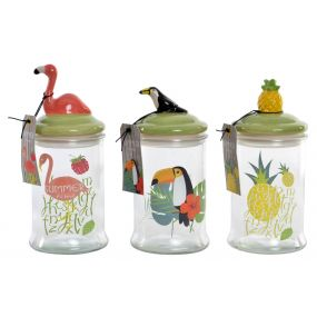 POT GLASS CERAMIC 10X10X22,5 1 L. TROPICAL 3 MOD.