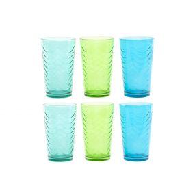 GLASS SET 6 GLASS 8X8X13 360 ML. GRATED 3 MOD.