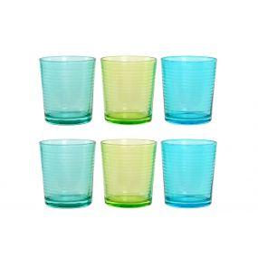 GLASS SET 6 GLASS 8,8X8,8X10 420 ML. GRATED 3 MOD.
