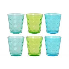 GLASS SET 6 GLASS 9X9X10 360 ML. RELIEF 3 MOD.