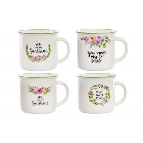 MUG PORCELAIN 12X9,5X9 380 ML. FLOWERS 4 MOD.