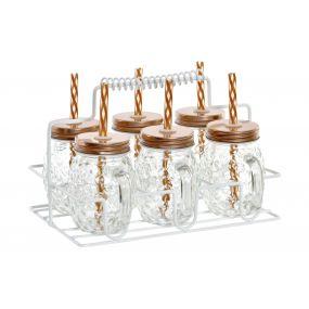 PITCHER SET 6 GLASS METAL 21X17X13,5 125ML. STRAW