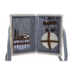 PICNIC BASKET WICKER 42X28X22 2SERV. STRIPES