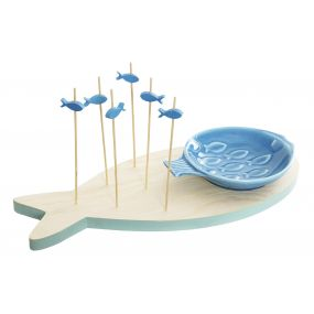 APPERTIF SET SET 8 WOOD 28X12X12,5 FISHES