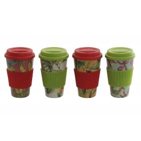 MUG RECYCLED BAMBOO 9X9X14 360 TROPICAL 4 MOD.