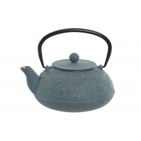TEAPOT CAST IRON INOX 17X15X15,5 1,2L. LEAVES BLUE