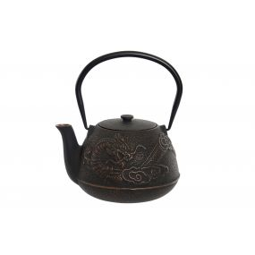 TEAPOT CAST IRON INOX 17X15X17 1,2L. DRAGON BLACK