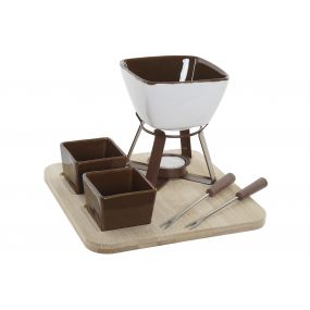 FONDUE SET 6 PORCELAIN BAMBOO 20X20X15 BROWN
