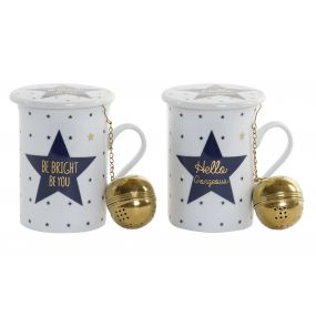 TEA MUG PORCELAIN INOX 10X9X11 280 GOLDEN 2 MOD.