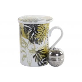TEA MUG PORCELAIN INOX 10X8X11 280 GREEN