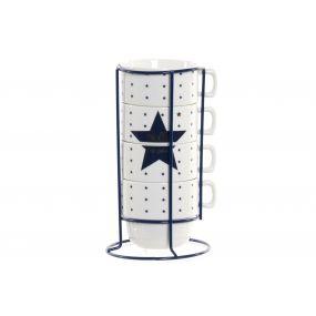 COFFEE SET 4 NEW BONE METAL 10,8X5X7 200 STAR BLUE