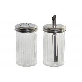 SUGAR BOWL GLASS METAL 7,7X7,7X14 310 2 MOD.