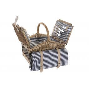 PICNIC BASKET WICKER POLYESTER 40X28X36 2 SERVICES