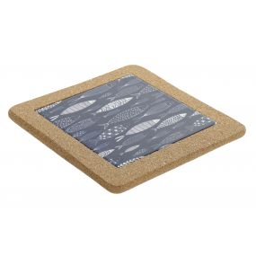 TRIVET STONEWARE CORK 20X20X1,5 FISHES BLUE