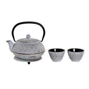 TEAPOT SET 4 CAST IRON 18,2X15,9X17,3 900ML. WHITE