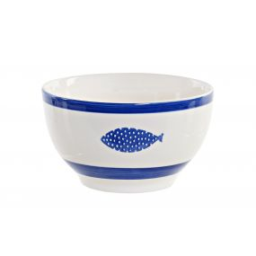 BOWL STONEWARE 14,5X14,5X8,5 FISHES BLUE
