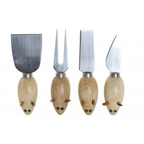 UTENSILS SET 4 BAMBOO INOX 18X15X3,3 CHEESE
