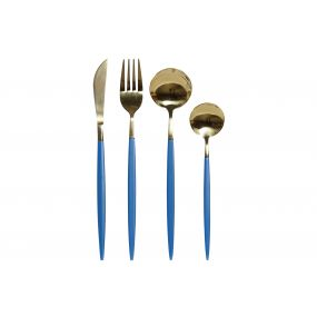 CUTLERY SET 16 INOX 1,5X1X22,3 3MM SPARKLY BLUE