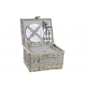 PICNIC BASKET SET 12 WICKER 33X26X19,5 2 SERV.