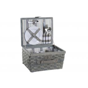 PICNIC BASKET SET 16 WICKER 33,5X27,5X18,5 2 SERV.