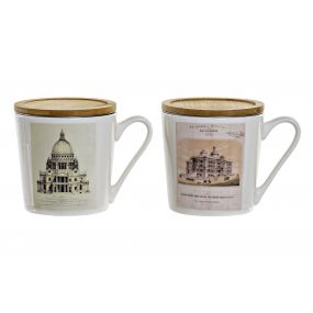 TEA MUG PORCELAIN 13X9,5X10 400 ML. BUILDINGS 2 MO