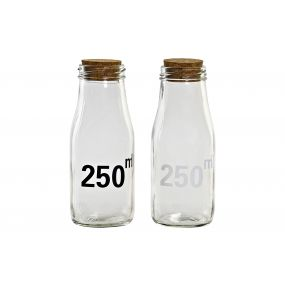BOTTLE GLASS CORK 6X15,5X15,5 250 ML. 2 MOD.