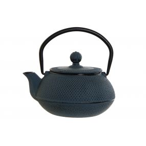 TEAPOT CAST IRON INOX 15,6X14X14,5 600ML, BLUE