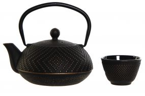 TEAPOT SET 3 CAST IRON INOX 17,6X15,2X17,6 900ML,