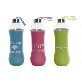 BOTTLE GLASS NEOPRENE 7X7X25 600 ML, 3 MOD.