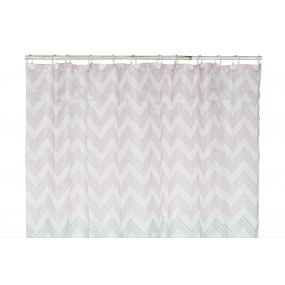 CURTAIN POLYESTER 180X200 ZIG ZAG PALE PINK