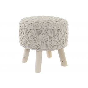 FOOTREST MACRAME COTTON 42X42X41 BEIGE