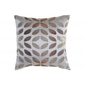 CUSHION POLYESTER 45X45 450 GR. LEAVES LIGHT BROWN